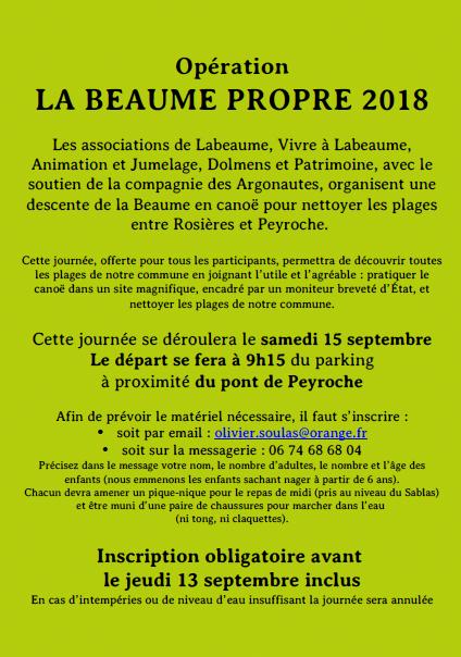 Opération LA BEAUME PROPRE 2018